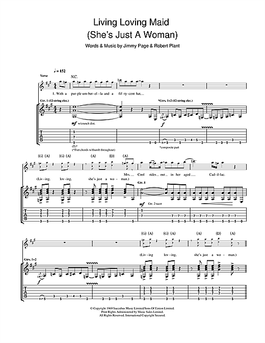 Living Loving Maid (She's Just A Woman) Sheet Music