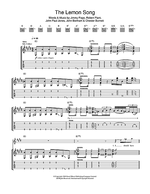 The Lemon Song Sheet Music