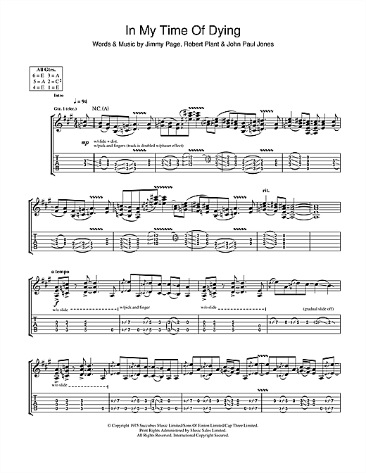 Tablature guitare In My Time Of Dying de Led Zeppelin - Tablature Guitare
