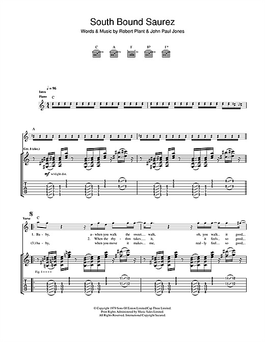 South Bound Saurez Sheet Music