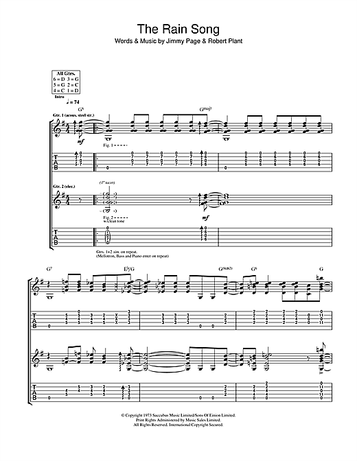 The Rain Song Guitar Tab by Led Zeppelin (Guitar Tab – 115242)