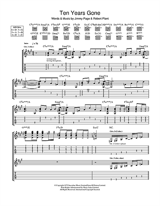 Tablature guitare Ten Years Gone de Led Zeppelin - Tablature Guitare