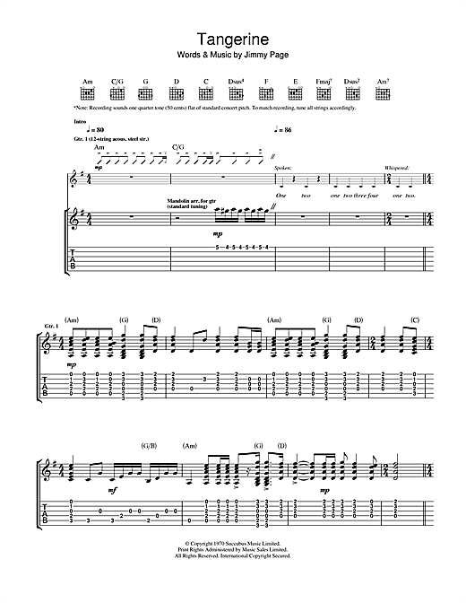 Tablature guitare Tangerine de Led Zeppelin - Tablature Guitare