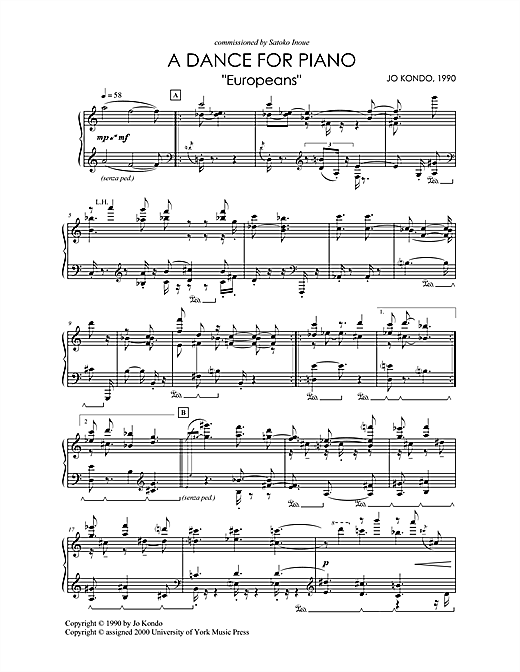 "A Dance For Piano, ""Europeans"" Sheet Music"