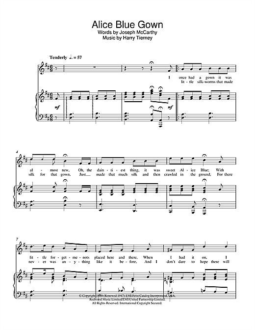 Alice Blue Gown Sheet Music