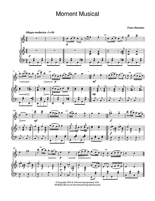 Moment Musical Sheet Music