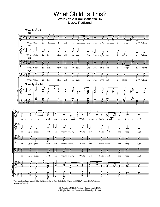 Partition chorale What Child Is This? de William C. Dix - SATB