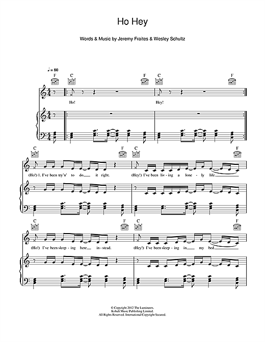 Ho Hey sheet music by The Lumineers (Piano, Vocal u0026 Guitar (Right-Hand Melody) u2013 115268)