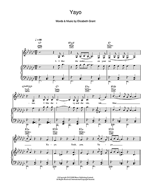 Yayo Sheet Music By Lana Del Rey Piano Vocal Guitar Right Hand