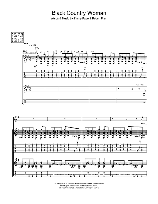 Tablature guitare Black Country Woman de Led Zeppelin - Tablature Guitare