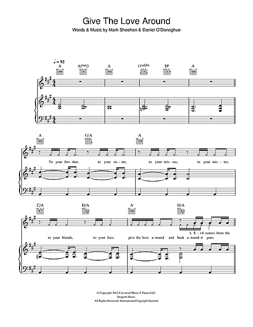 Give The Love Around (Piano, Vocal & Guitar (Right-Hand Melody))