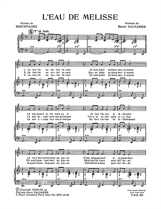 Eau De Melisse Sheet Music