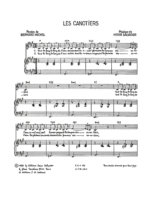 Partition piano Canotiers de Henri Salvador - Piano Voix