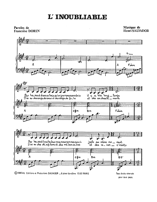 Partition piano Inoubliable de Henri Salvador - Piano Voix