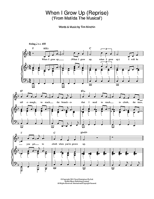 When I Grow Up (Reprise) (From 'Matilda The Musical') Sheet Music