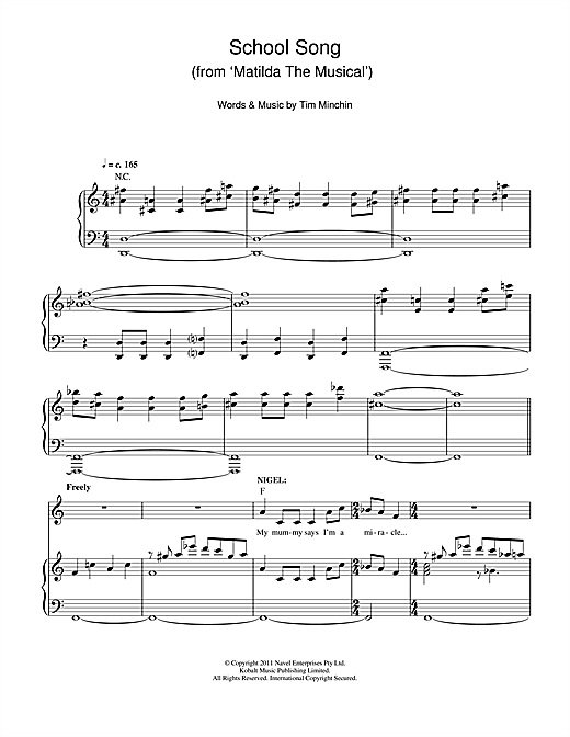 Partition piano School Song (From 'Matilda The Musical') de Tim Minchin - Piano Voix