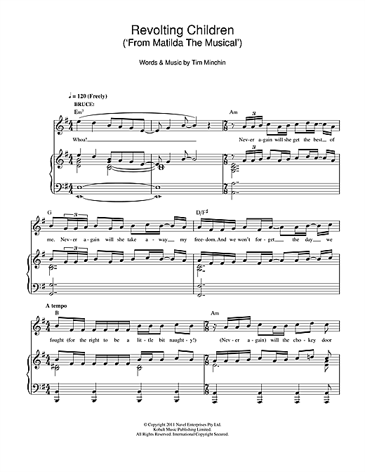 Partition piano Revolting Children (From 'Matilda The Musical') de Tim Minchin - Piano Voix