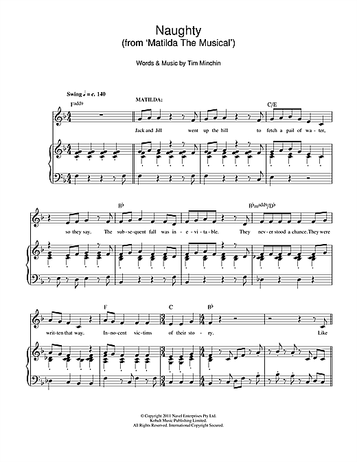 Naughty (From 'Matilda The Musical') Sheet Music