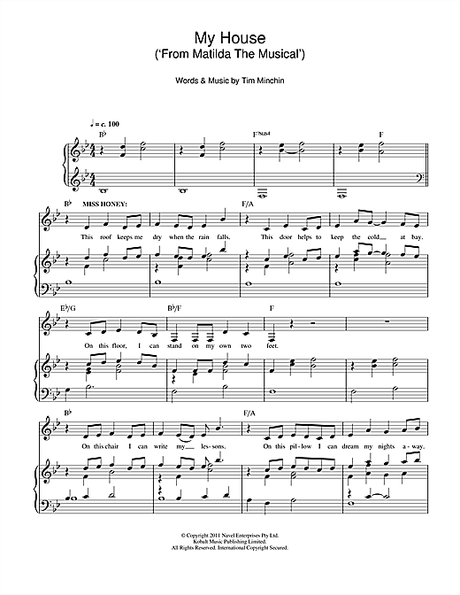 My house from 39 matilda the musical 39 sheet music by tim for My house house music