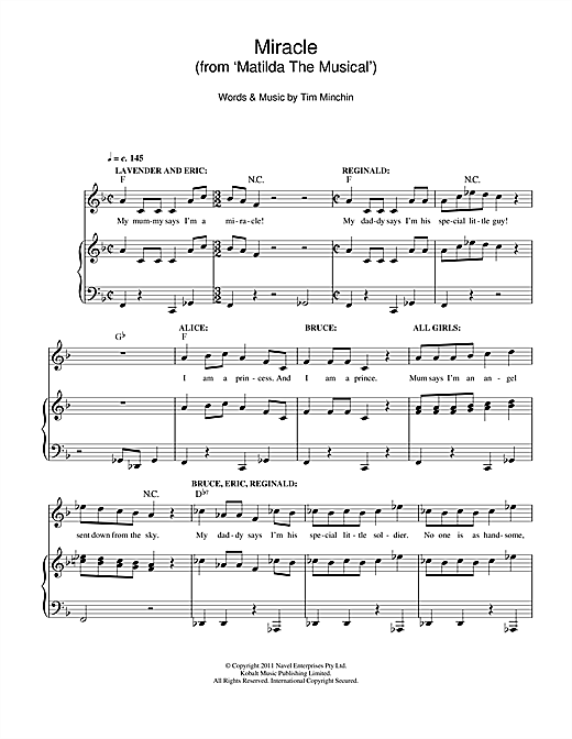 Miracle (From 'Matilda The Musical') Sheet Music