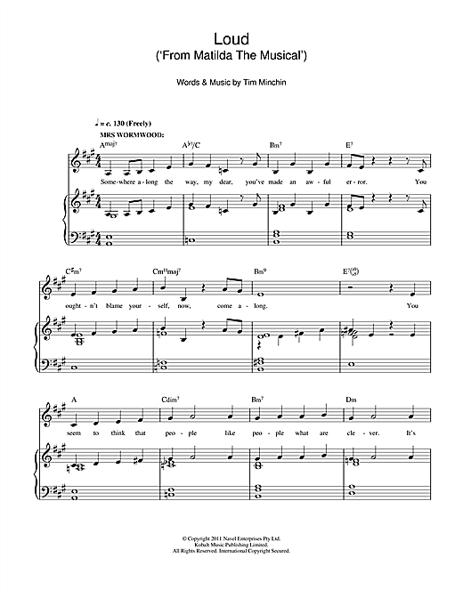 Loud (From 'Matilda The Musical') Sheet Music