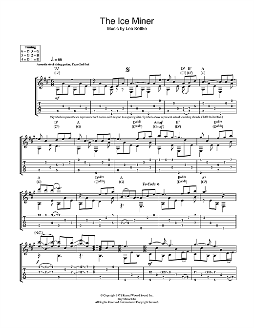 Tablature guitare The Ice Miner de Leo Kottke - Tablature Guitare