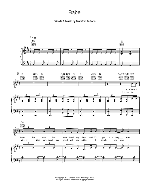 Babel sheet music by Mumford & Sons (Piano, Vocal & Guitar ...