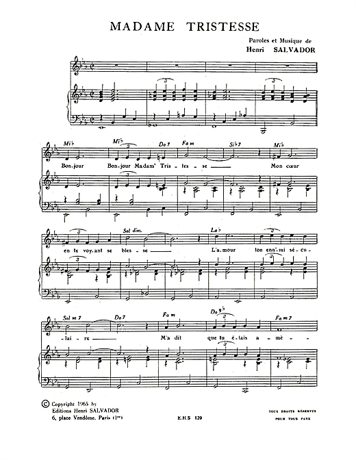 Madame Tristesse Sheet Music