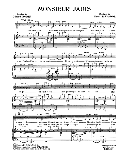 Monsieur Jadis Sheet Music