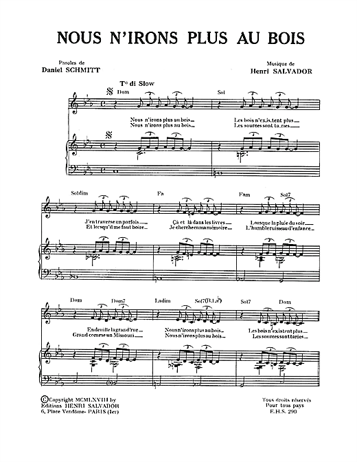 Nous N'irons Plus Au Bois Sheet Music
