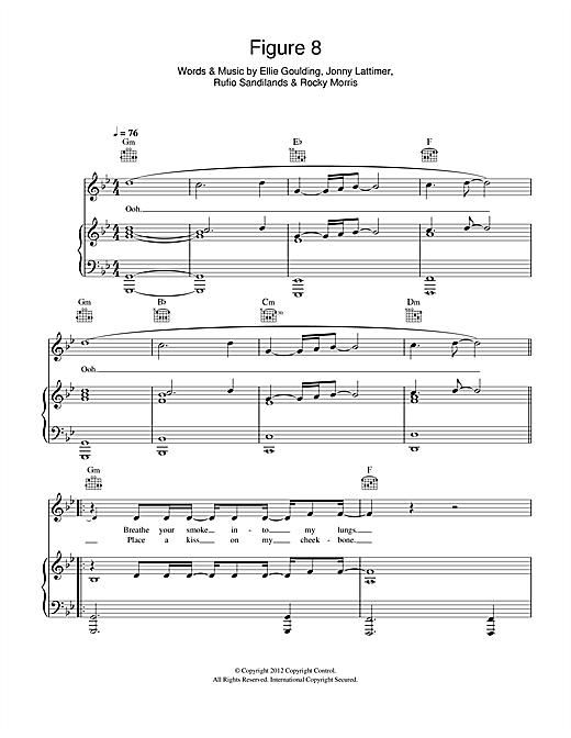 Figure 8 Sheet Music By Ellie Goulding Piano Vocal Guitar Right