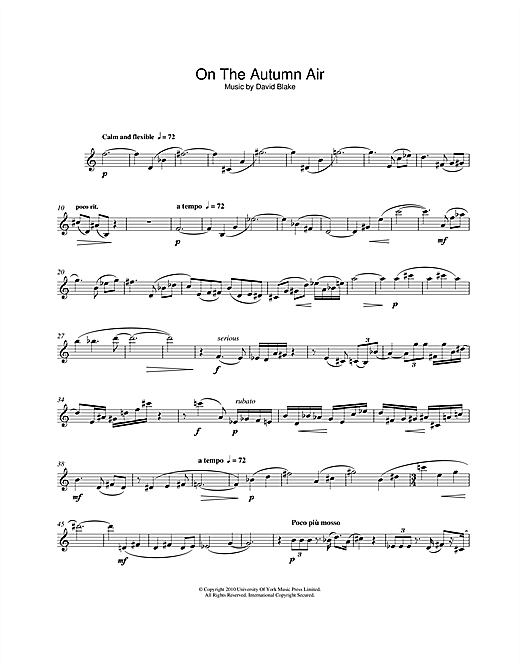 On The Autumn Air Sheet Music