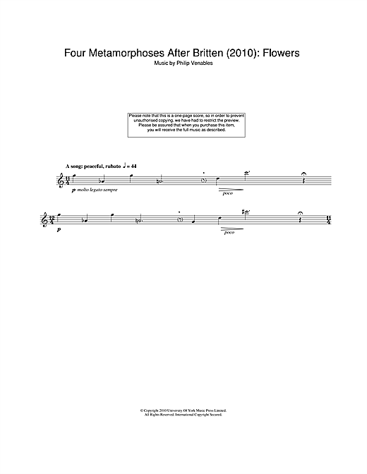 Four Metamorphoses After Britten (2010): Flowers Sheet Music