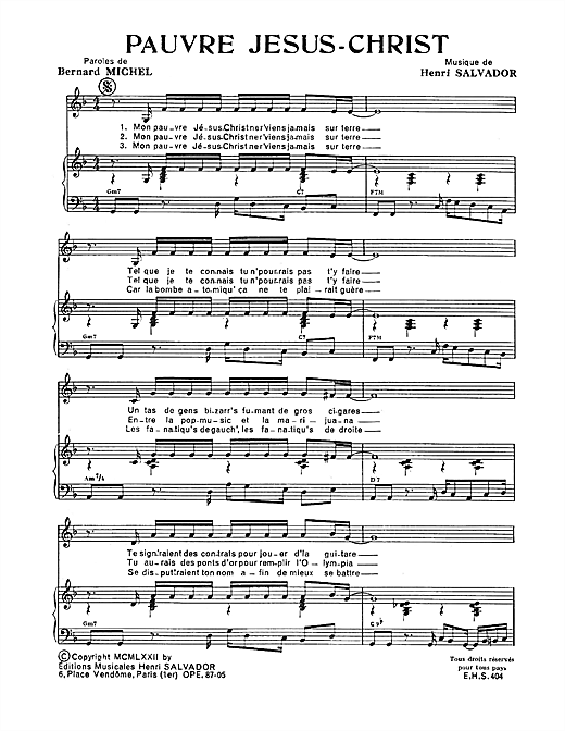 Pauvre Jesus Christ Sheet Music