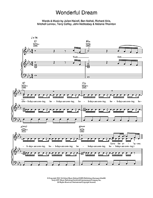 Wonderful Dream (Holidays Are Coming) Sheet Music
