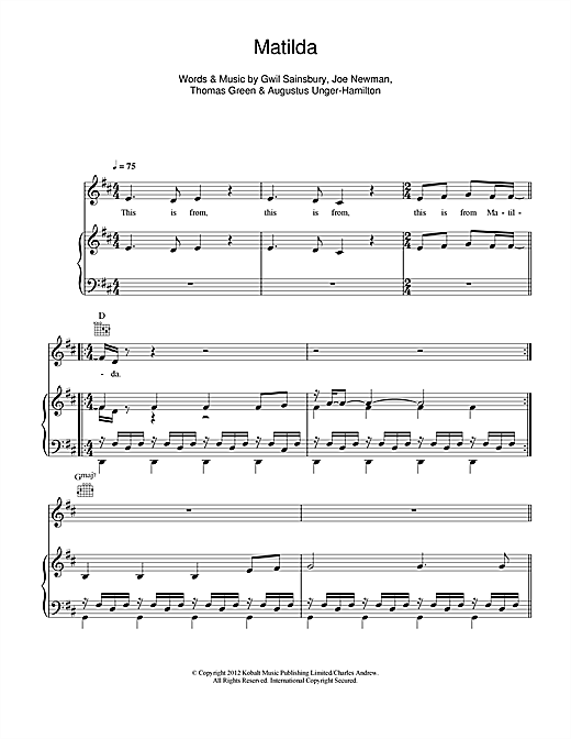 Matilda Sheet Music