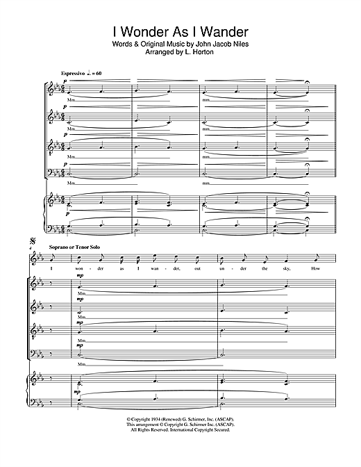 Partition chorale I Wonder As I Wander de John Jacob Niles - SATB