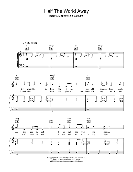 Half The World Away Sheet Music By Oasis Piano Vocal Guitar