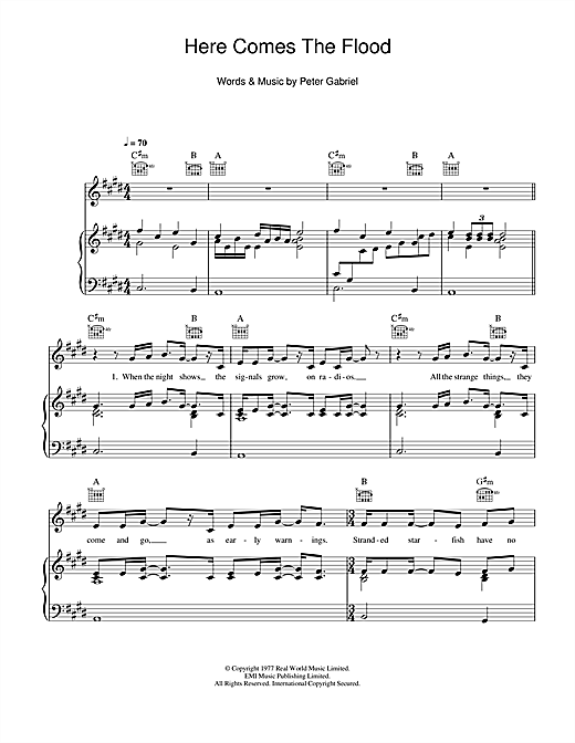 Here Comes The Flood Sheet Music