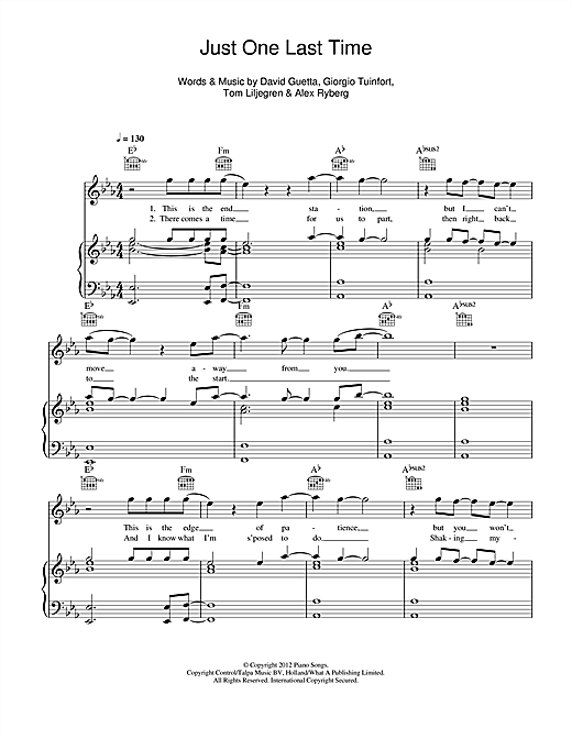 Just One Last Time (feat. Taped Rai) Sheet Music