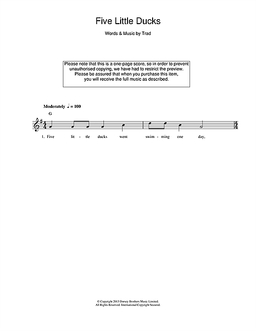 Five Little Ducks Chords By Traditional Melody Line Lyrics
