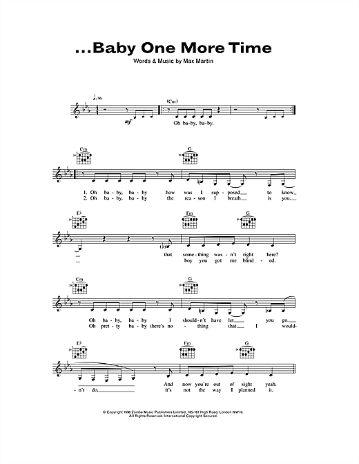 ...Baby One More Time (Lead Sheet / Fake Book)