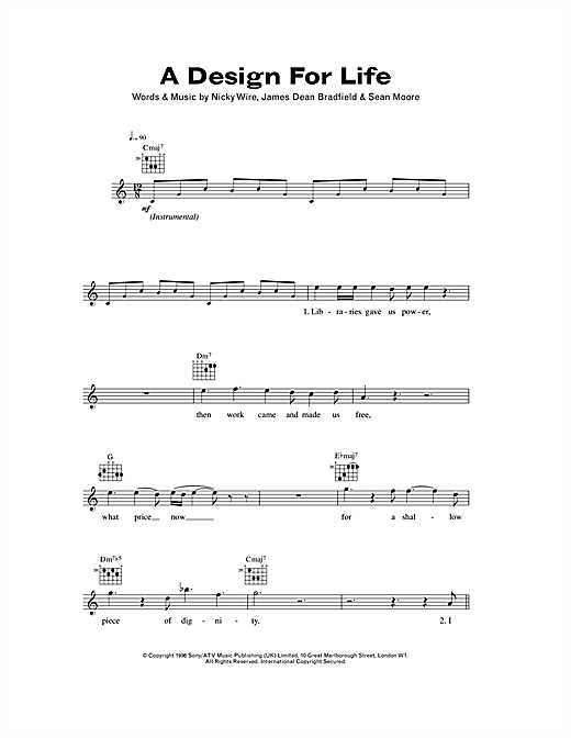 A Design For Life Sheet Music