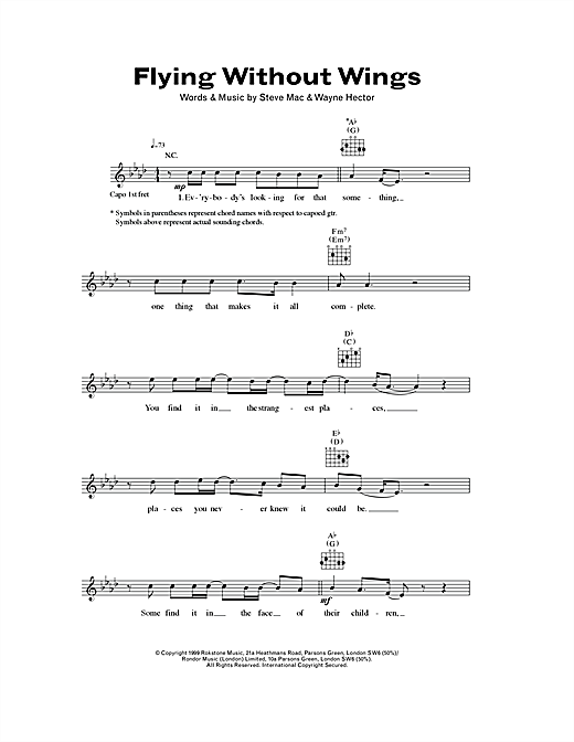 Flying Without Wings (Lead Sheet / Fake Book)