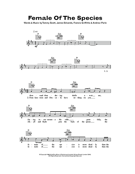 Female Of The Species Sheet Music