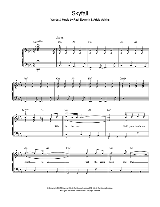 Piano tablature piano facile gratuite : Skyfall partition par Adele (Piano Facile – 115472)