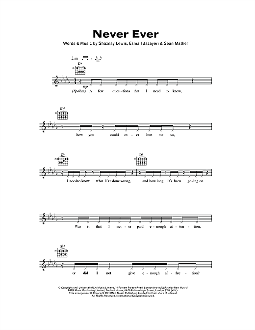 Never Ever (Lead Sheet / Fake Book)