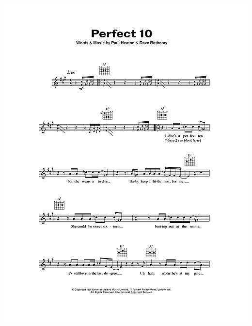 Perfect 10 (Lead Sheet / Fake Book)