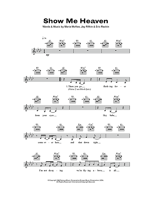 Show Me Heaven (Lead Sheet / Fake Book)