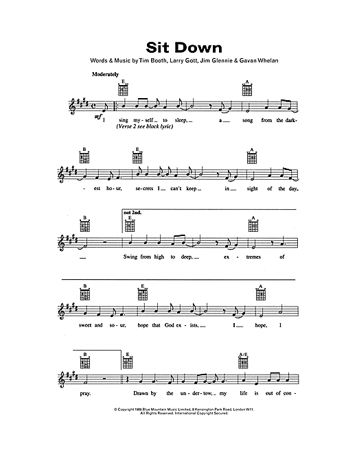 Sit Down Sheet Music